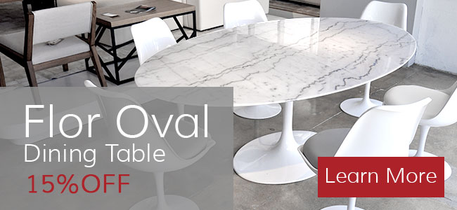 Flor Oval Dining Table - Marble